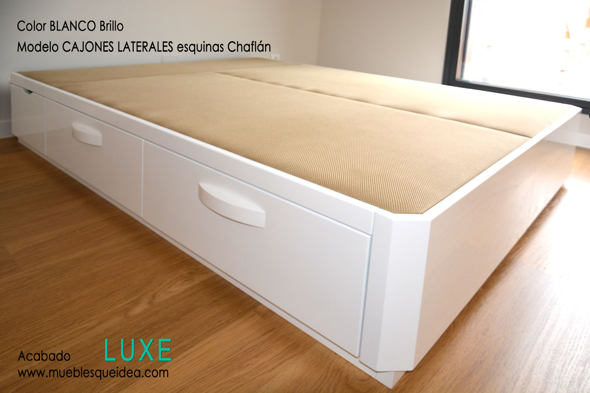 Canap de madera con cajones muebles qu idea for Base cama individual con cajones